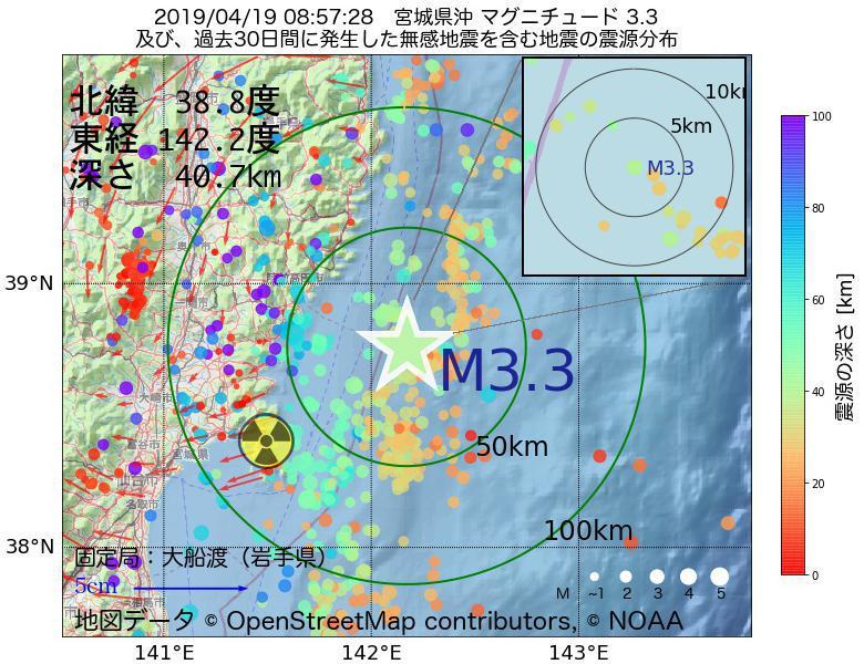 地震震源マップ:2019年04月19日 08時57分 宮城県沖でM3.3の地震