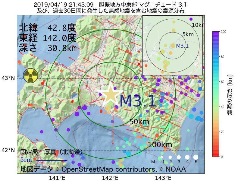 地震震源マップ:2019年04月19日 21時43分 胆振地方中東部でM3.1の地震