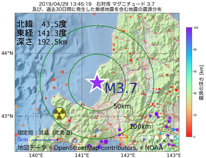 地震震源マップ:2019年04月29日 13時45分 石狩湾でM3.7の地震