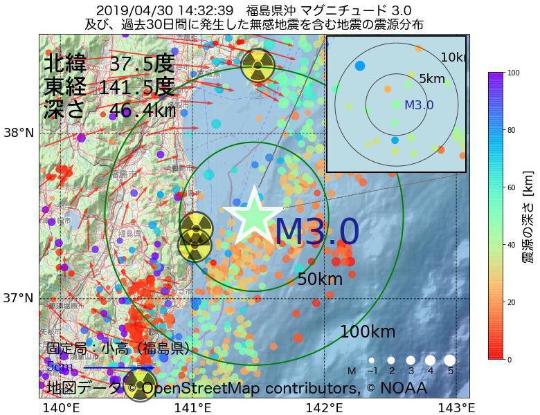 地震震源マップ:2019年04月30日 14時32分 福島県沖でM3.0の地震