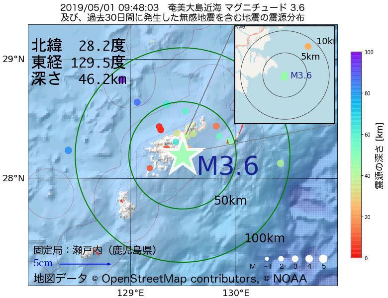 地震震源マップ:2019年05月01日 09時48分 奄美大島近海でM3.6の地震