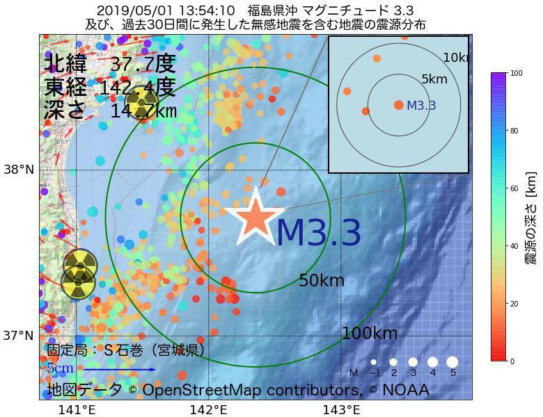 地震震源マップ:2019年05月01日 13時54分 福島県沖でM3.3の地震