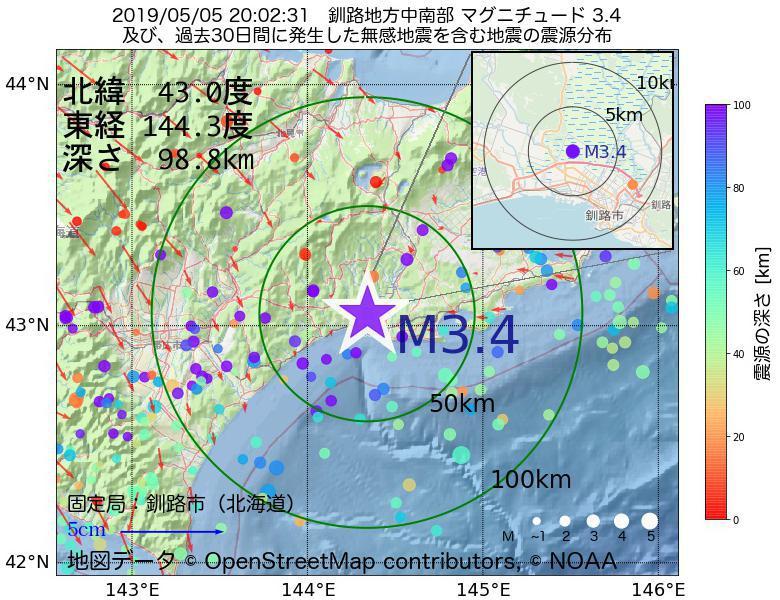 地震震源マップ:2019年05月05日 20時02分 釧路地方中南部でM3.4の地震