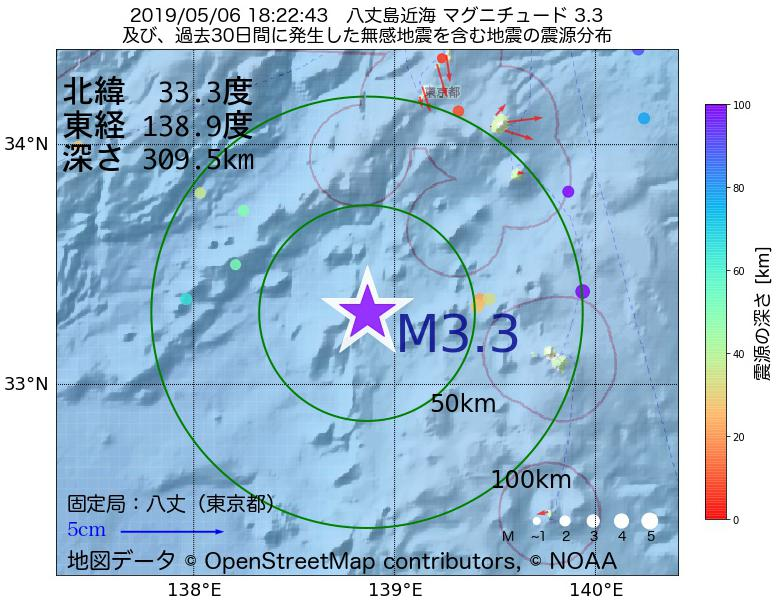 地震震源マップ:2019年05月06日 18時22分 八丈島近海でM3.3の地震