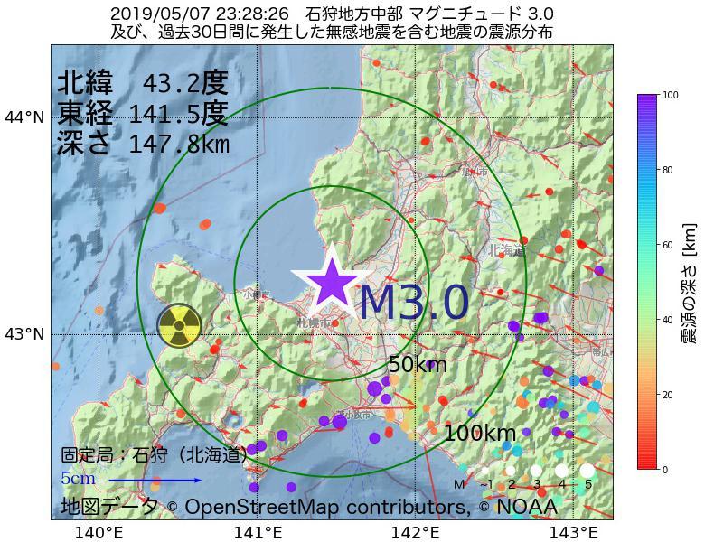 地震震源マップ:2019年05月07日 23時28分 石狩地方中部でM3.0の地震