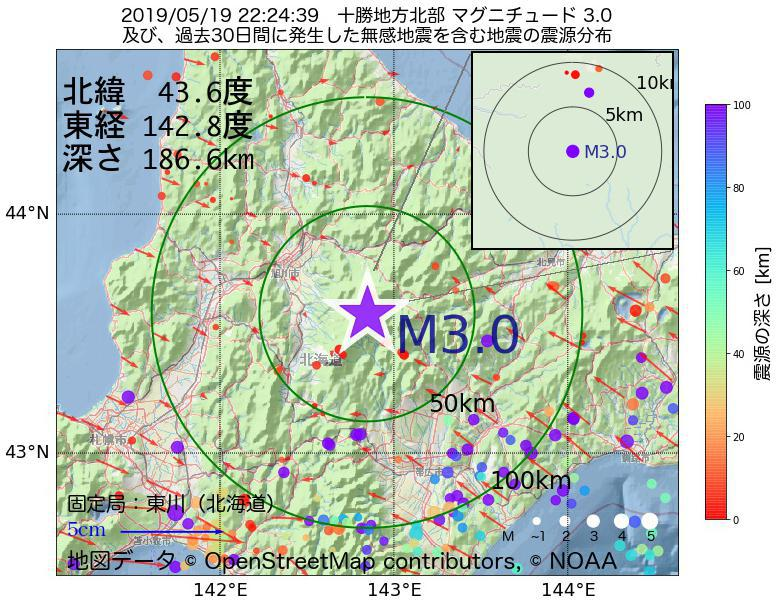 地震震源マップ:2019年05月19日 22時24分 十勝地方北部でM3.0の地震