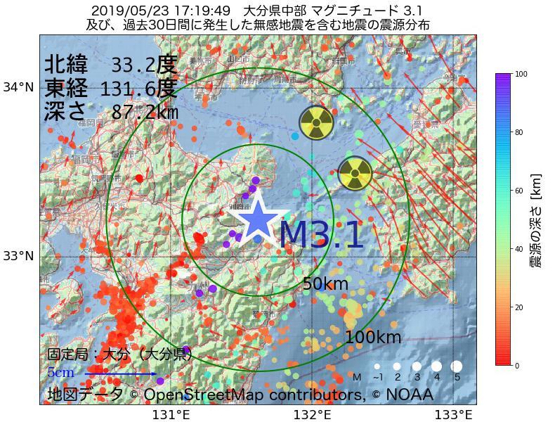 地震震源マップ:2019年05月23日 17時19分 大分県中部でM3.1の地震