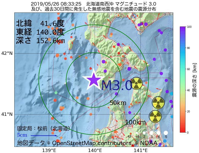 地震震源マップ:2019年05月26日 08時33分 北海道南西沖でM3.0の地震