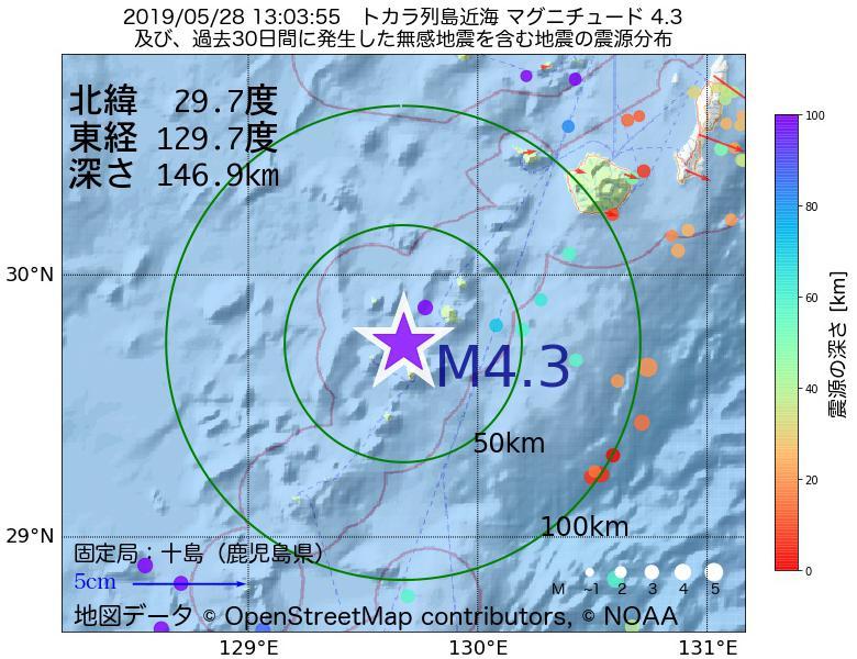 地震震源マップ:2019年05月28日 13時03分 トカラ列島近海でM4.3の地震