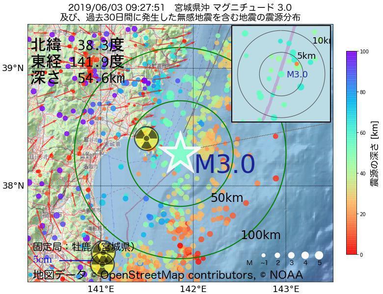地震震源マップ:2019年06月03日 09時27分 宮城県沖でM3.0の地震