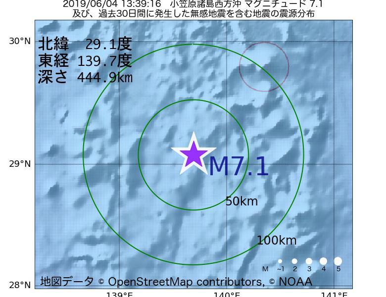 地震震源マップ:2019年06月04日 13時39分 小笠原諸島西方沖でM7.1の地震