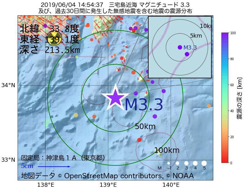 地震震源マップ:2019年06月04日 14時54分 三宅島近海でM3.3の地震