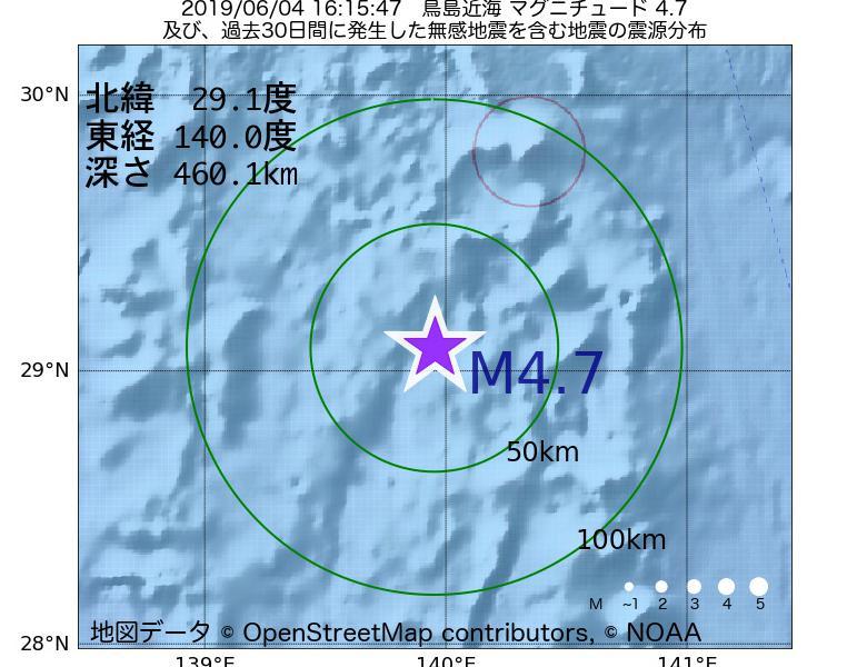 地震震源マップ:2019年06月04日 16時15分 鳥島近海でM4.7の地震