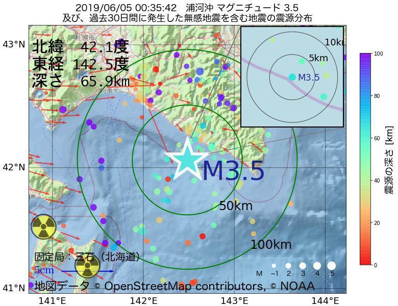 地震震源マップ:2019年06月05日 00時35分 浦河沖でM3.5の地震