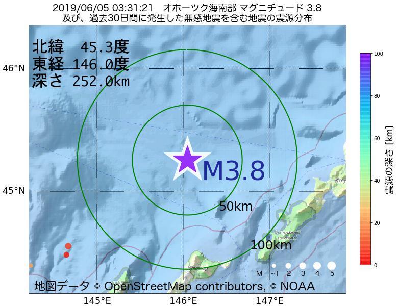 地震震源マップ:2019年06月05日 03時31分 オホーツク海南部でM3.8の地震