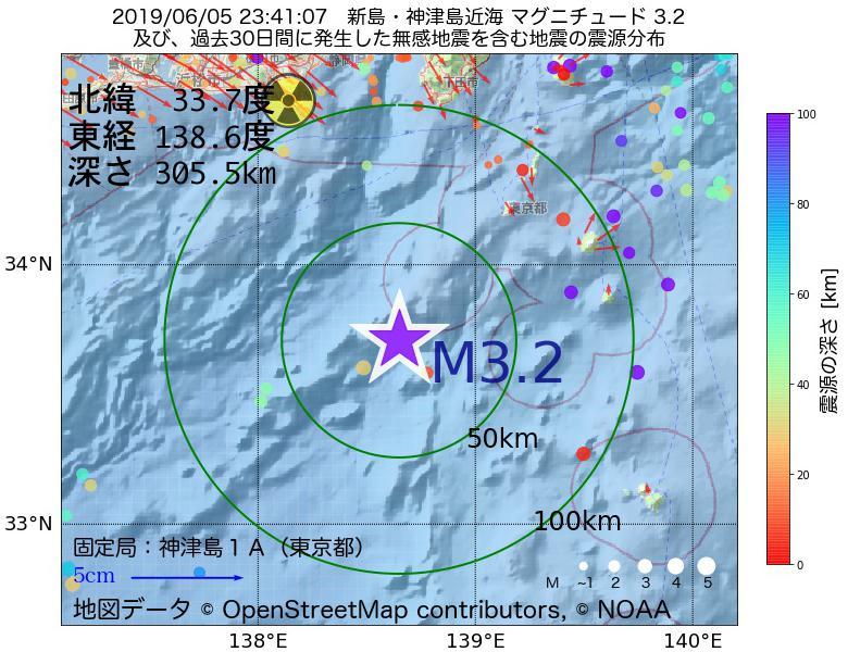 地震震源マップ:2019年06月05日 23時41分 新島・神津島近海でM3.2の地震