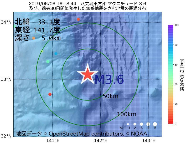 地震震源マップ:2019年06月06日 16時18分 八丈島東方沖でM3.6の地震
