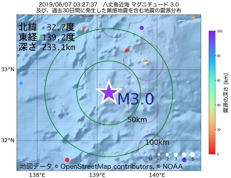 地震震源マップ:2019年06月07日 03時27分 八丈島近海でM3.0の地震
