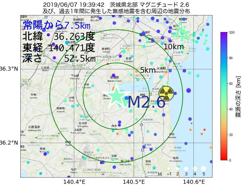 地震震源マップ:常陽から7.5km地点でM2.6の地震が発生しました