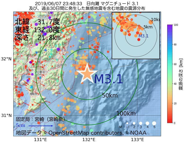 地震震源マップ:2019年06月07日 23時48分 日向灘でM3.1の地震