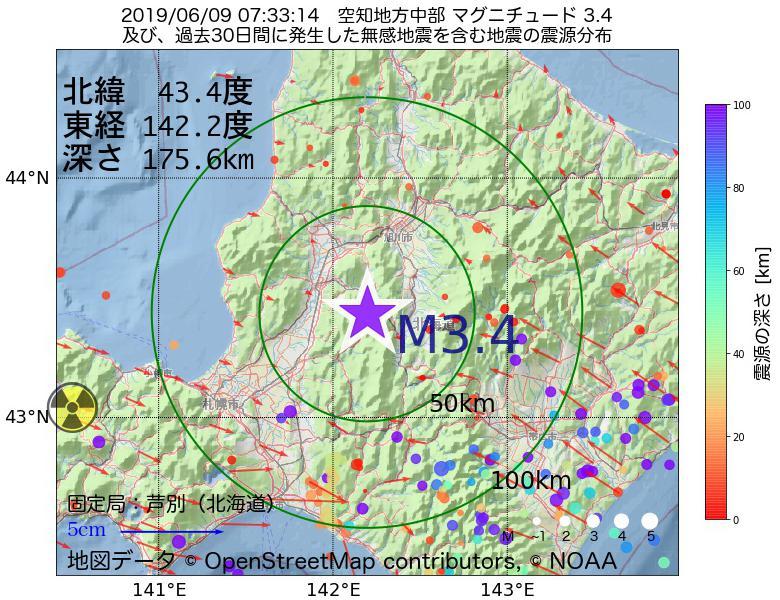 地震震源マップ:2019年06月09日 07時33分 空知地方中部でM3.4の地震