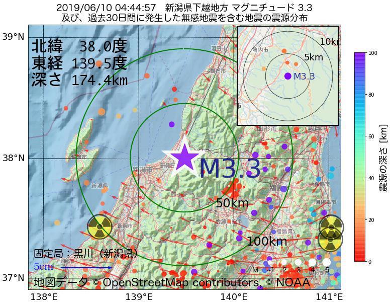 地震震源マップ:2019年06月10日 04時44分 新潟県下越地方でM3.3の地震