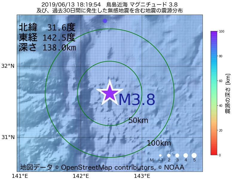 地震震源マップ:2019年06月13日 18時19分 鳥島近海でM3.8の地震