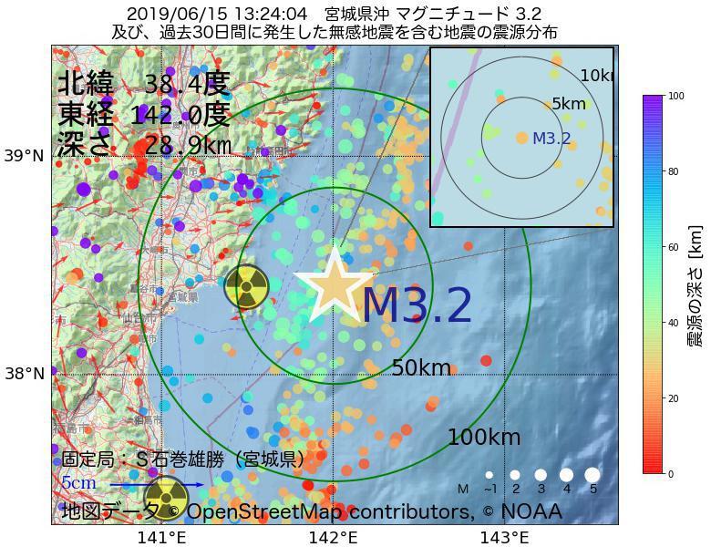 地震震源マップ:2019年06月15日 13時24分 宮城県沖でM3.2の地震