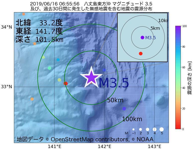 地震震源マップ:2019年06月16日 06時55分 八丈島東方沖でM3.5の地震