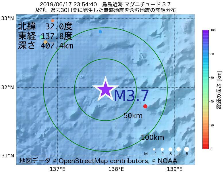 地震震源マップ:2019年06月17日 23時54分 鳥島近海でM3.7の地震
