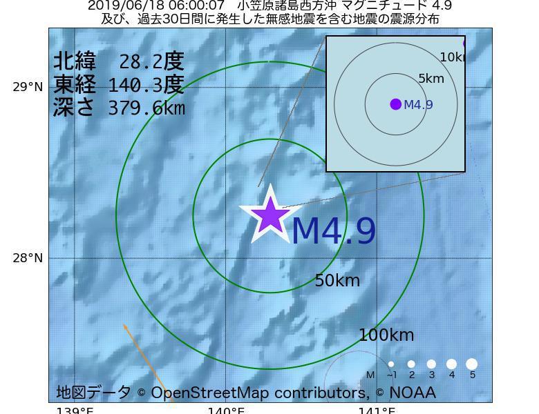 地震震源マップ:2019年06月18日 06時00分 小笠原諸島西方沖でM4.9の地震