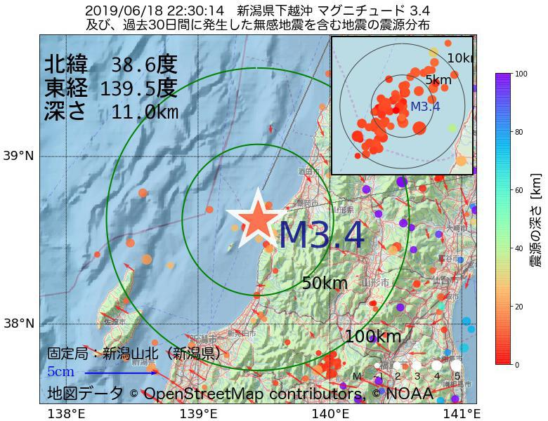 地震震源マップ:2019年06月18日 22時30分 新潟県下越沖でM3.4の地震