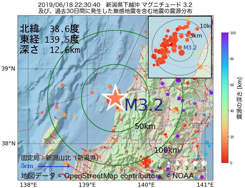 地震震源マップ:2019年06月18日 22時30分 新潟県下越沖でM3.2の地震