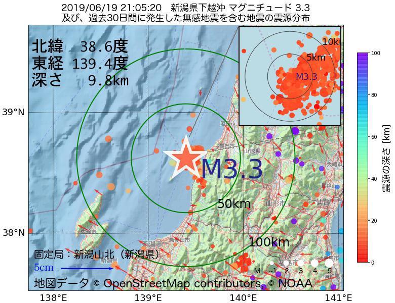地震震源マップ:2019年06月19日 21時05分 新潟県下越沖でM3.3の地震