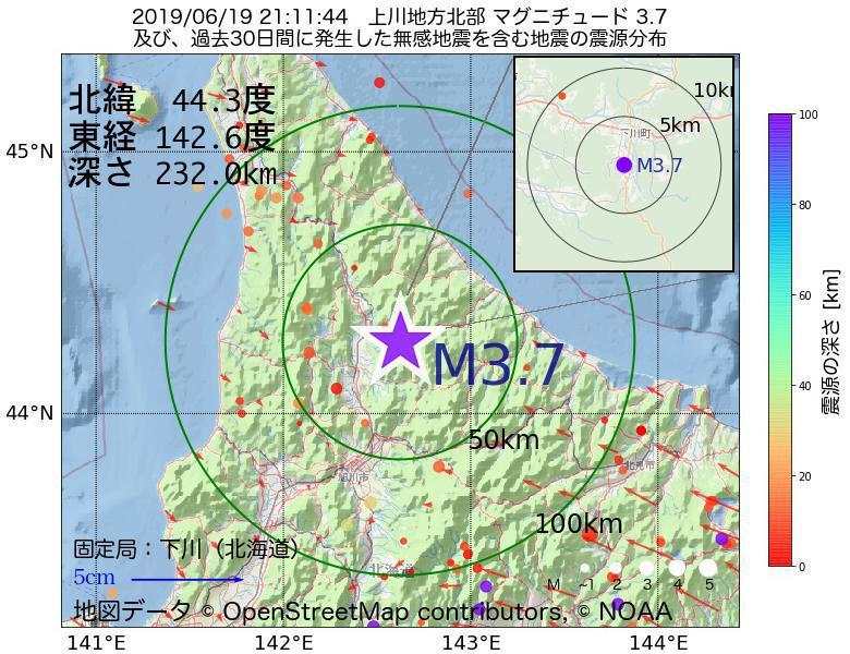 地震震源マップ:2019年06月19日 21時11分 上川地方北部でM3.7の地震