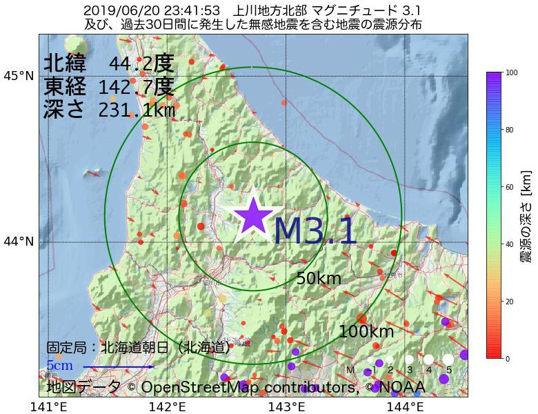 地震震源マップ:2019年06月20日 23時41分 上川地方北部でM3.1の地震