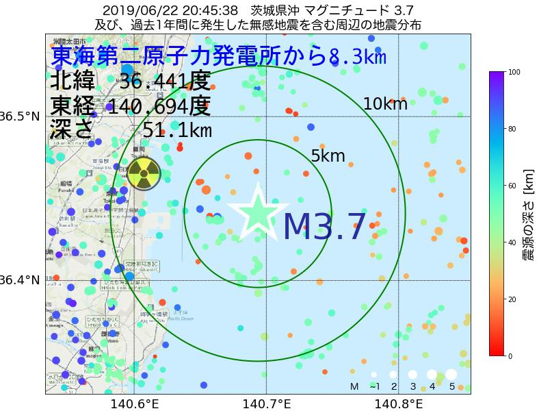 地震震源マップ:東海第二原子力発電所から8.3km地点でM3.7の地震が発生しました