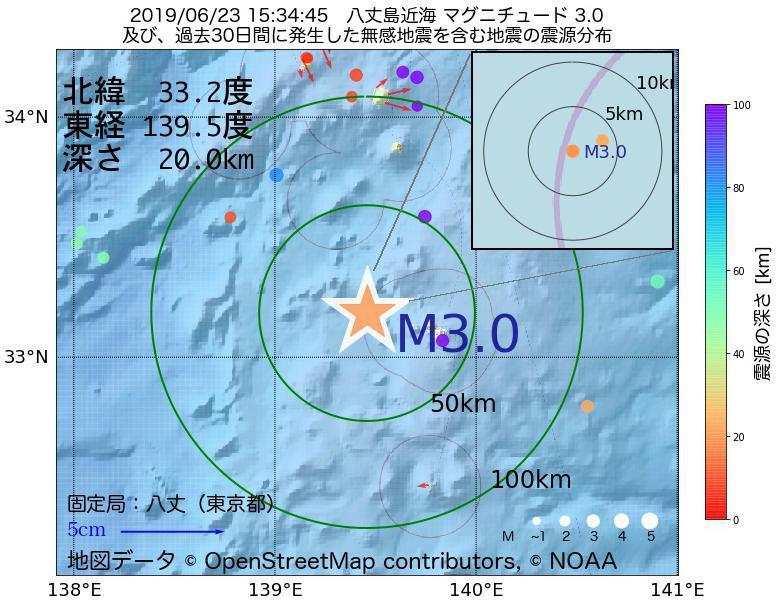 地震震源マップ:2019年06月23日 15時34分 八丈島近海でM3.0の地震