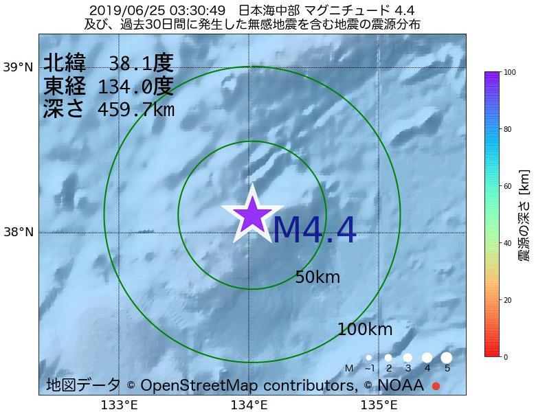 地震震源マップ:2019年06月25日 03時30分 日本海中部でM4.4の地震