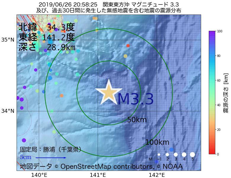 地震震源マップ:2019年06月26日 20時58分 関東東方沖でM3.3の地震