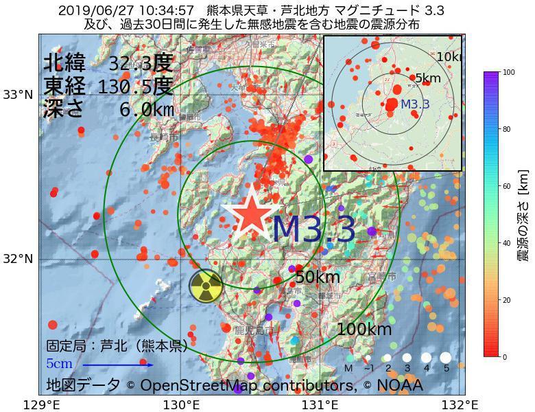 地震震源マップ:2019年06月27日 10時34分 熊本県天草・芦北地方でM3.3の地震