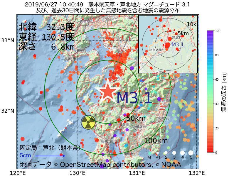 地震震源マップ:2019年06月27日 10時40分 熊本県天草・芦北地方でM3.1の地震