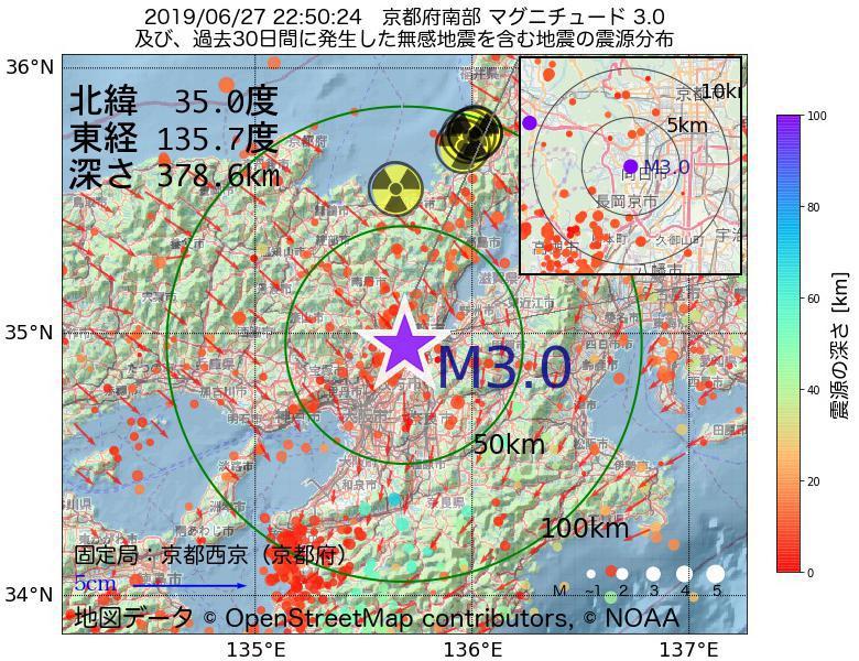 地震震源マップ:2019年06月27日 22時50分 京都府南部でM3.0の地震