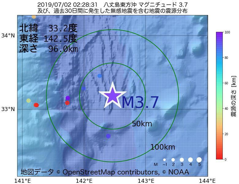 地震震源マップ:2019年07月02日 02時28分 八丈島東方沖でM3.7の地震