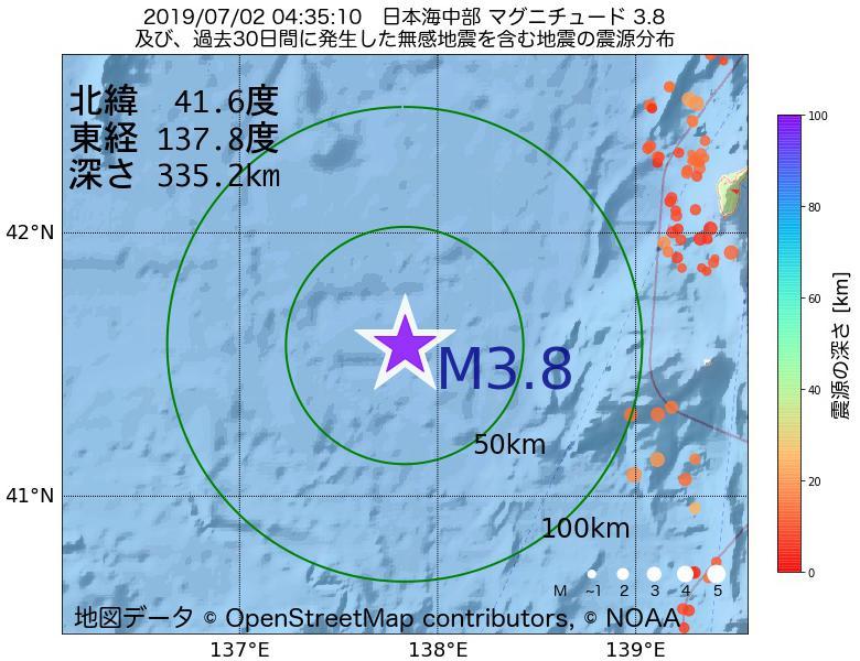 地震震源マップ:2019年07月02日 04時35分 日本海中部でM3.8の地震