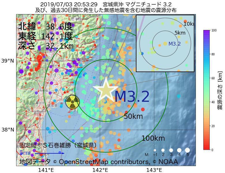 地震震源マップ:2019年07月03日 20時53分 宮城県沖でM3.2の地震