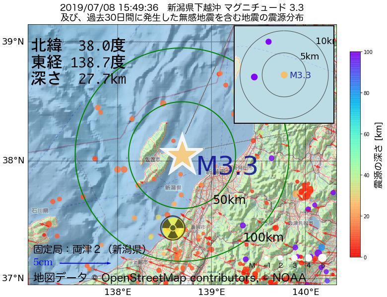 地震震源マップ:2019年07月08日 15時49分 新潟県下越沖でM3.3の地震