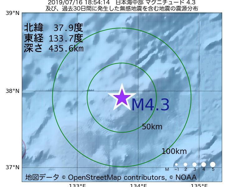 地震震源マップ:2019年07月16日 18時54分 日本海中部でM4.3の地震