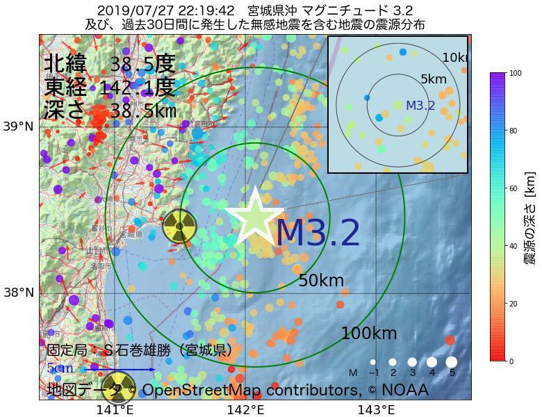 地震震源マップ:2019年07月27日 22時19分 宮城県沖でM3.2の地震