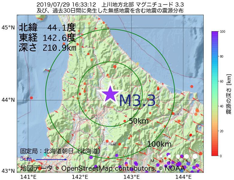 地震震源マップ:2019年07月29日 16時33分 上川地方北部でM3.3の地震